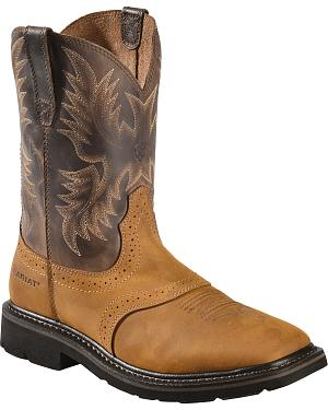 Ariat Sierra Pull-On Western Work Boots - Square Toe