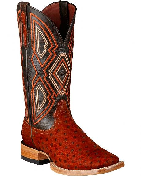 Ariat Nitro Sueded Full Quill Ostrich Cowboy Boots - Square Toe