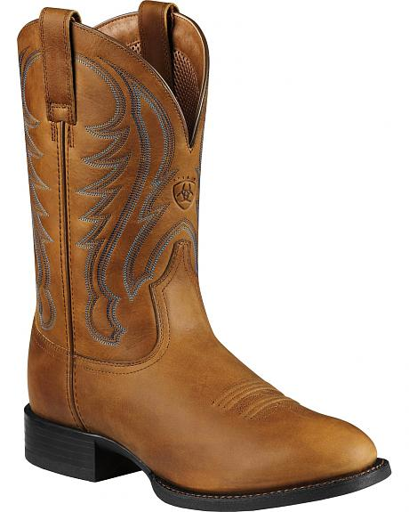 Ariat Tan Sport Cowboy Boots - Round Toe