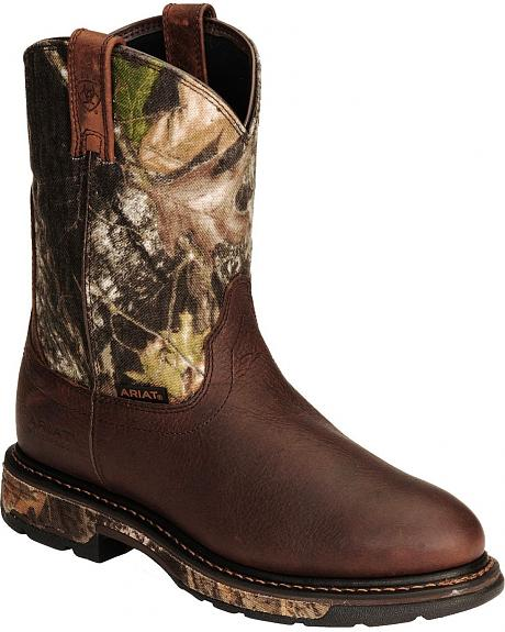 Ariat Waterproof Workhog Camo Pull-On Work Boots - Round Toe