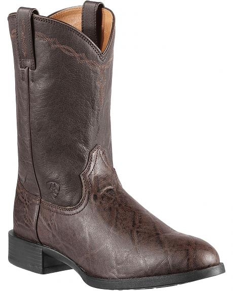 Ariat Heritage Roper Elephant Print Cowboy Boots - Round Toe