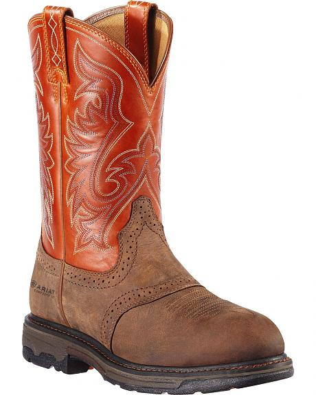 Ariat Workhog Saddle Vamp Pull-On Work Boots - Round Toe