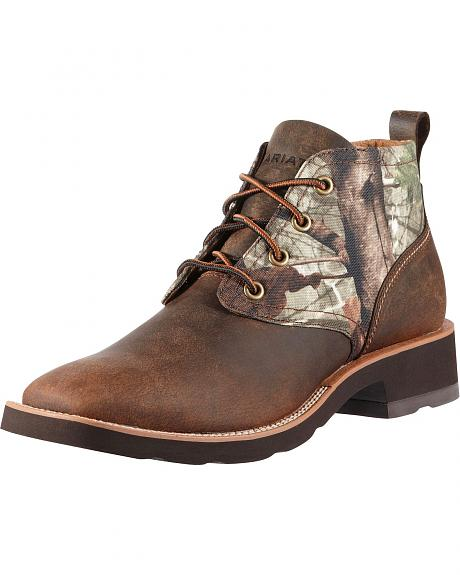 Ariat Backlash Lace-Up Camo Print Casual Boots - Square Toe