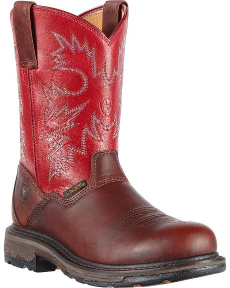 Ariat Workhog Western Pull-On Work Boots - Round Toe