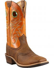 Ariat Heritage Rough Stock Cowboy Boots - Wide Square Toe