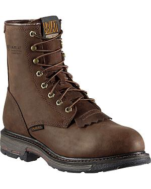 "Ariat WorkHog H2O 8"" Lace-Up Work Boots - Composition Toe"