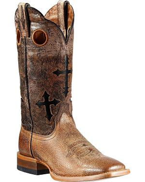 Ariat Ranchero Cross Inlay Cowboy Boots - Square Toe