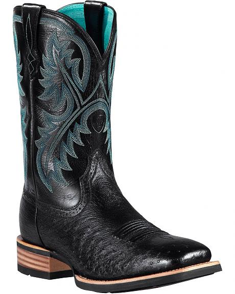 Ariat Black Smooth Quill Ostrich Quickdraw Cowboy Boots - Square Toe