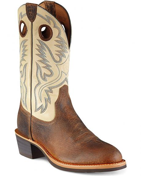 Ariat Fancy Stitched Cream Heritage Rough Stock Cowboy Boots - Round Toe