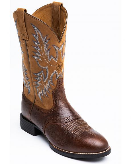 Ariat Barrel Brown Stockman Cowboy Boots - Round Toe
