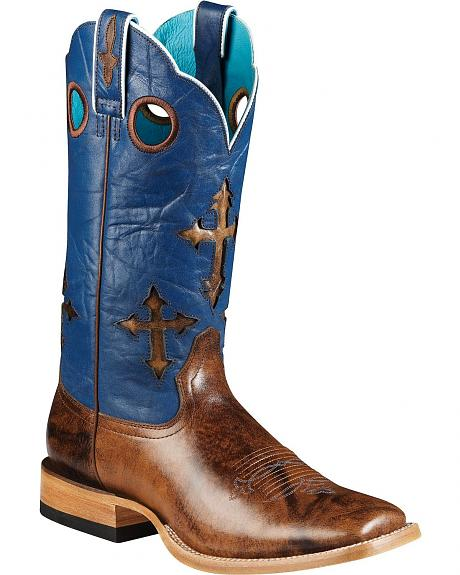 Ariat Ranch Cross Inlay Cowboy Boots - Square Toe
