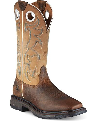 Ariat Workhog Pull-On Work Boots Steel Toe Western & Country 10008205