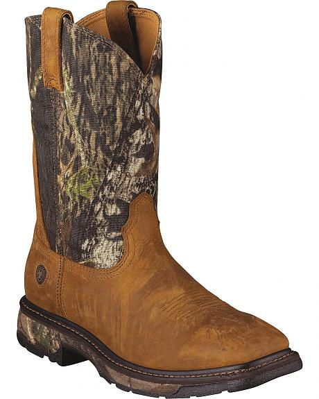 Ariat Workhog Mossy Oak Camo Pull-On Work Boots - Square Toe