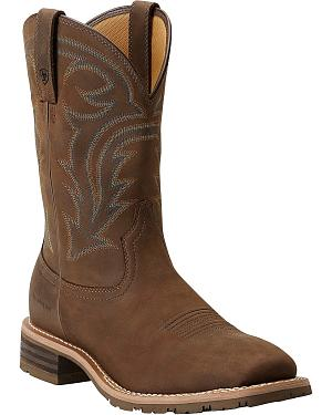 Ariat Hybrid Rancher Waterproof Pull-On Work Boots - Square Toe