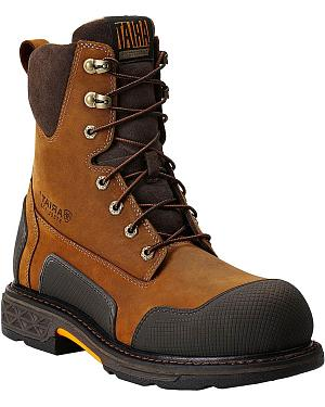 "Ariat Overdrive XTR 8"" Lace-Up Side Zipper Work Boots - Steel Toe"