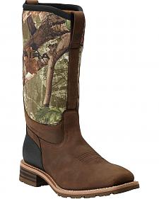 Ariat Hybrid All Weather Waterproof Camo Neoprene Work Boots - Square Toe