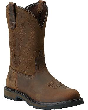 Ariat Groundbreaker Pull-On Work Boots - Round Toe