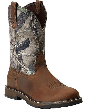 Ariat Groundbreaker Camo Pull-On Work Boots - Round Toe