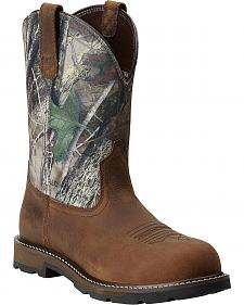 Ariat Groundbreaker Camo Pull-On Work Boots - Steel Toe