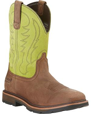 Ariat Waterproof Work Groundbreaker Cowboy Boots - Wide Square Toe