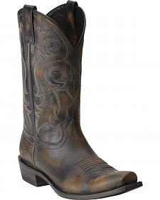 Ariat Lawless Rustic Black Cowboy Boots - Square Toe
