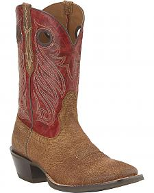 Ariat Cross Tie Tan Oiled Cowboy Boots - Square Toe
