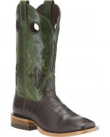 Ariat Ranchero Chocolate Gator Print Cowboy Boots - Square Toe
