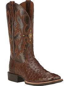 Ariat Quantum Classic Full Quill Ostrich Cowboy Boots - Square Toe