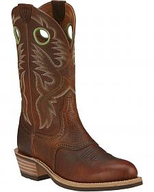 Ariat Brown Rowdy Heritage Roughstock Cowboy Boots - Round Toe