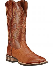 Ariat Men's Tombstone Smooth Ostrich Western Boots - Square Toe