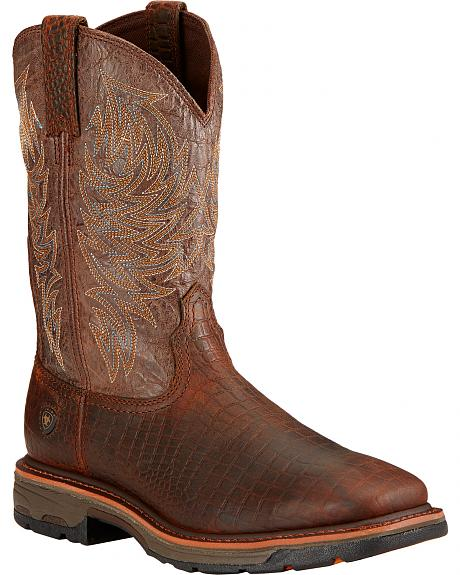 Ariat Workhog Croc Print Wide Square Toe Work Boots - Soft Toe