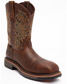 Ariat Brown Croc Print Workhog Work Boots - Composite Toe