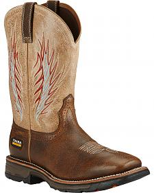 Ariat Brown Workhog Mesteno II Cowboy Work Boots - Soft Square Toe