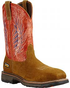 Ariat Fire Workhog Mesteno II Cowboy Work Boots - Composite Toe