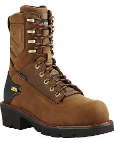 "Ariat Men's Brown Powerline H20 8""  Lace-Up Work Boots - Composite Toe"