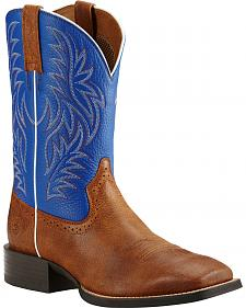 Ariat Sport Western Blue and Brown Cowboy Boots - Square Toe