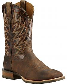 Ariat Challenger Branding Iron Brown Cowboy Boots - Square Toe