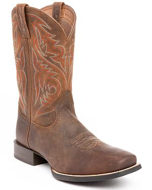 Ariat Powder Brown Sport Herdsman Cowboy Boots - Square Toe