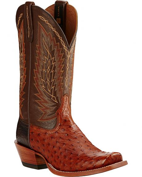 Ariat Brandy Super Stakes Full Quill Ostrich Cowboy Boots - Square Toe