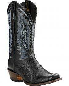 Ariat Super Stakes Full Quill Ostrich Cowboy Boots - Square Toe