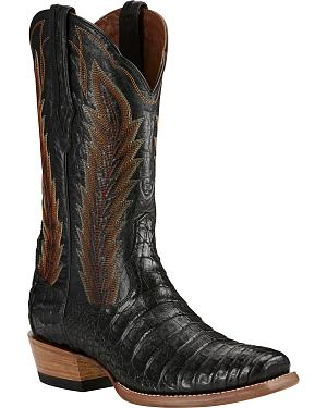 Ariat Black Turnback Caiman Belly Cowboy Boots - Square Toe