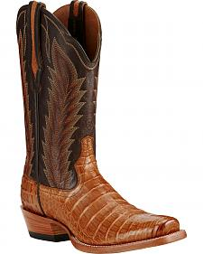 Ariat Tan Turnback Caiman Belly Cowboy Boots - Square Toe