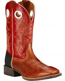 Ariat Cardinal Red Heritage Cowhorse Performance Cowboy Boots - Square Toe