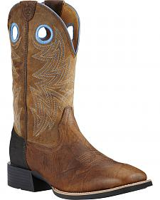 Ariat Bar Top Brown Heritage Cowhorse Performance Cowboy Boots - Square Toe