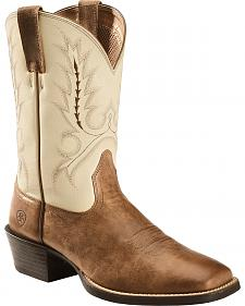 Ariat Brown Sport Outfitter Cowboy Boots - Square Toe