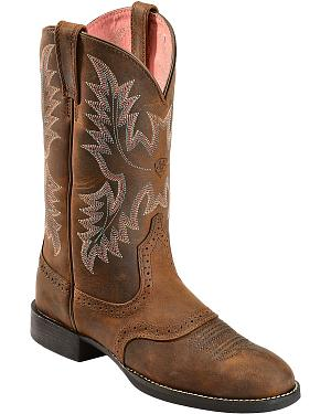 Ariat Heritage Stockman Saddle Vamp Cowgirl Boots - Round Toe