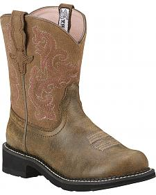 Ariat Brown Bomber Leather Fatbaby Boots - Crepe Sole
