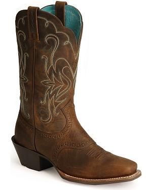 Ariat Saddle Vamp Legend Riding Cowgirl Boots - Square Toe