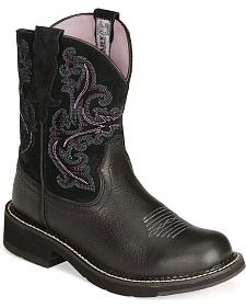 Ariat Fatbaby Black Deertan Cowgirl Boots - Round Toe