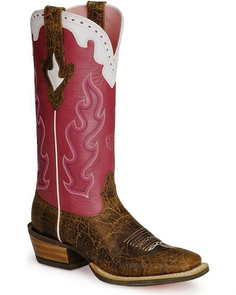 Ariat Pink Caliente Crossfire Cowgirl Boots - Wide Square Toe